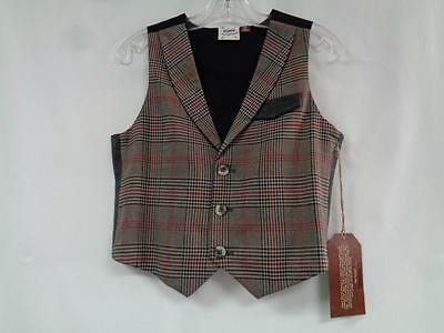 FORE!! AXEL & HUDSON NWT 5/6 Brown Red Black 65% Rayon Plaid Lined Boys Vest