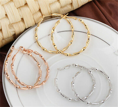 Circle Party Women Fashion 18K White/Rose Gold/Yellow Gold Filled Hoop Earrings
