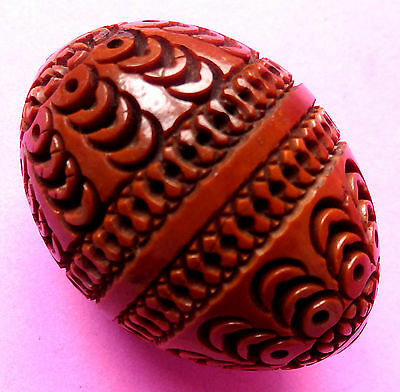 Antique Carved Decoration Acorn Design  Tagua Nut ,egg , Sewing Thimble Case