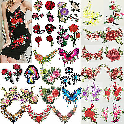 Lace Rose Flower Applique Badge Embroidered Neckline Collar Sew Patch Bust Dress