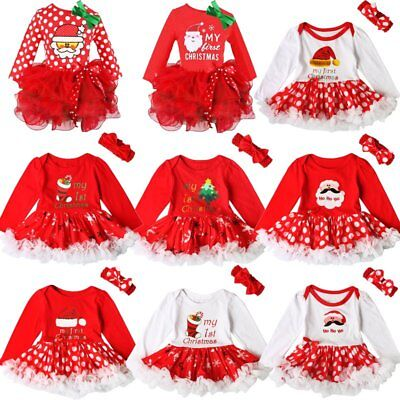 Santa Newborn Baby Girl Christmas Tutu Dress Headband Outfit Clothes Set Age 1-6