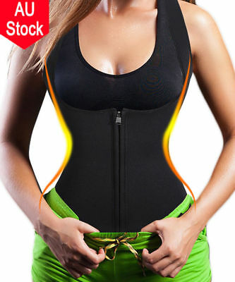 Neoprene Zip Sweat Hot Body Shaper Corset Slimming Waist Trainer Cincher Vest AU