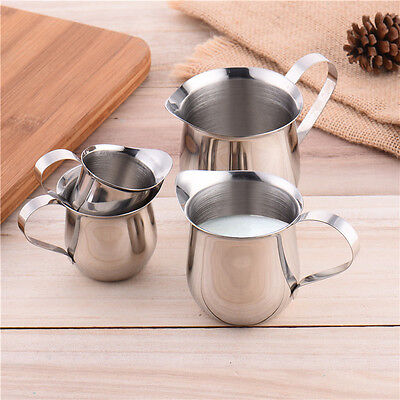 Stainless Steel Frothing Coffee Milk Pitcher Jug Kitchen Craft Foam Cup 4 Sizes