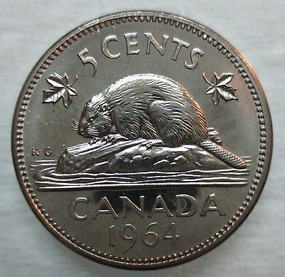 1964 Canada 5 Cents Proof-Like Nickel Coin