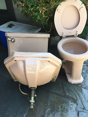 Vintage Mid Century Deco Sink And Toilet Set Pink