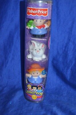 Fisher Price Little People - Tube of 3 - Farm Girl Boy Bunny -  New -