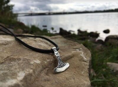 SOLID Sterling Silver 925 AXE WITH Dagaz RUNE VIKING Pendant Amulet Ethnic