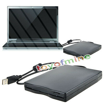 "1x H FDD 3.5"" External USB Floppy Disk Drive 1.44MB For Laptop PC Win Mac Black"