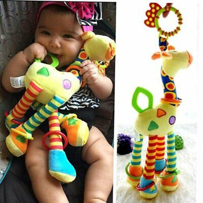 Giraffe Animal Infant Baby Development Soft Rattles Handle Toys with Teethers