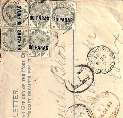 MS2944 1886 GBPOs ABROAD British Levant Turkey High Rate REGISTERED Front Essex
