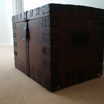 Antique Large Solid Wood chest with handles