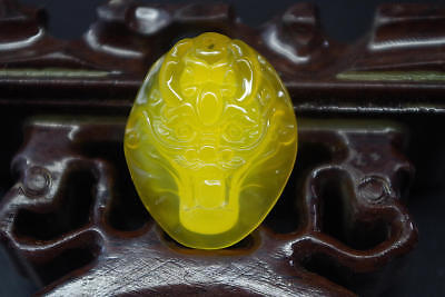 Certified Cert'd natural yellow chalcedony hand-carved dragon icy jade pendant %