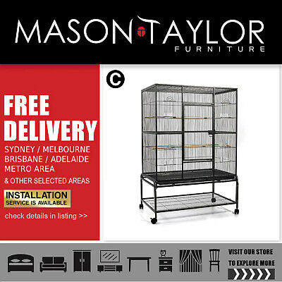 Mason Taylor Bird Cage Parrot Aviary Pet Stand alone Perch Wheels Large Birds AU