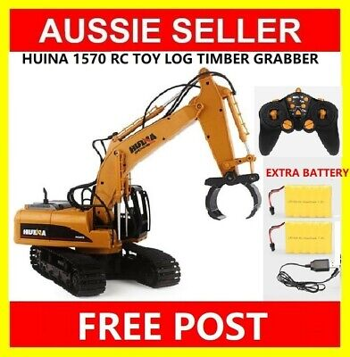 HUINA 1570 1:12 2.4GHz 16CH RC Alloy Log Grabbing Machine Toy EXTRA 2 Battery