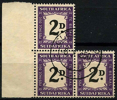 South Africa 1948-9 SG#D36, 2d Postage Dues Used Block Of 3 #D56078