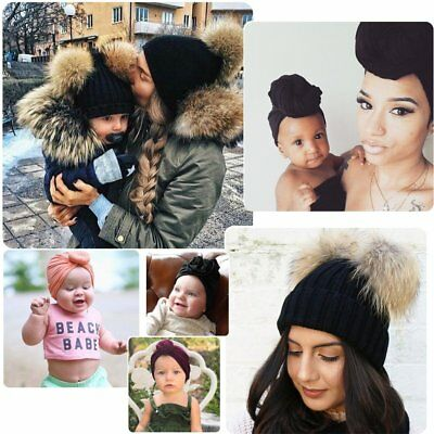 Mother&Baby Daughter/Son Winter Warm Knit Hat Family Crochet Fur Beanie Ski Cap