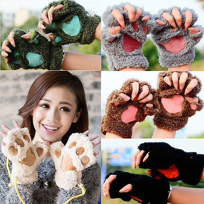 Cute Women Cat Claw Paw Mitten Plush Glove Costume Cute Winter Half Finger USA