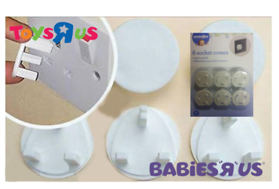6x SOCKET COVERS- Babies R US BRANDED SAFETY ELECTRIC MAINS baby proof protector
