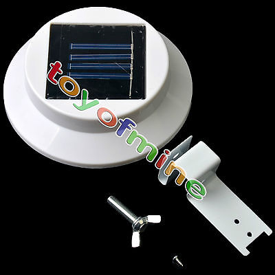 3 LED Solar Powered 3-LED Gutter Fence Light Outdoor Wall Roof Garden Lamp new