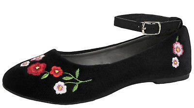 Girls Embroidered Party Shoes Faux Suede Velvet Ballerinas Ballet Shoes Size