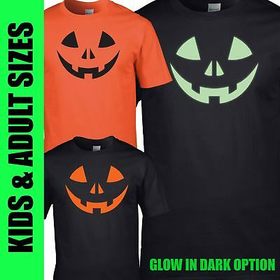 Fancy Dress Halloween T Shirt Tee Top Tshirt Spooky Face Pumpkin Kids Adults New