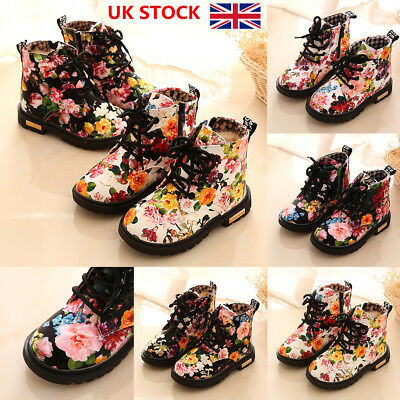 Kids Boys Girls Floral Patent Leather Lace Up Boots Fur Winter Martin Shoes Size