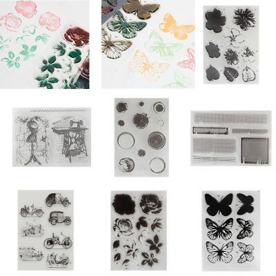 Transparent Silicone Clear Flower Stamp Sheet Cling Scrapbooking Card Craft DIY