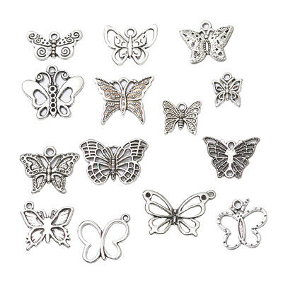 14pcs Antique Silver Butterfly Pendants Charms for Jewelry Making Crafts DIY