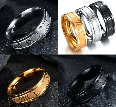 Black Silver Gold Plated 6mm Roman Numeral Band Mens Womens Ring (Sizes M - Z+3)
