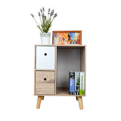 63x50x38CM Wooden Natural 2 Drawers Cabinet Nightstand Side Desk Bedside Tables
