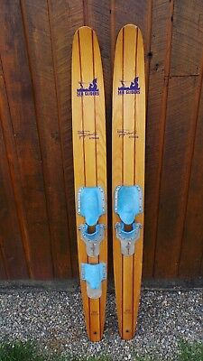 """ANTIQUE Set of Wooden 65"""" Long Waterskis Water Skis SEA GLIDER GEORGE ATHANS"""