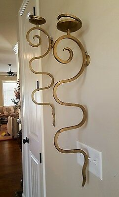 Pair Mid Century Modern Regency Gilded Iron Serpentine Wall Candle Sconces 33""