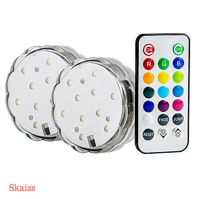 2 x LED Decorative Light Mood Light Underwater Pond Lighting Radio Control