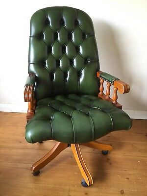 Green Leather Chesterfield Style Executive Director Swivel Captain Office Chair