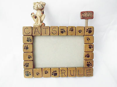 """""""Cats Rule"""" 3D-3.5x5"""" Photo Picture Frame-Cat/Sign/Paw Prints-No Dogs Allowed"""