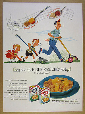 1954 Purina Rice & Wheat Chex Cereal father kids yard work art vintage print Ad