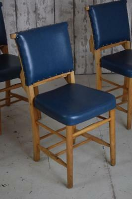 Set Of 4 Vintage Upholstered Church Chapel Cafe Bar Kitchen Dining Chairs