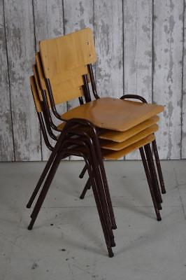 Set Of 4 Vintage Mid Century Stacking Stackable Cafe Bar Kitchen Dining Chairs