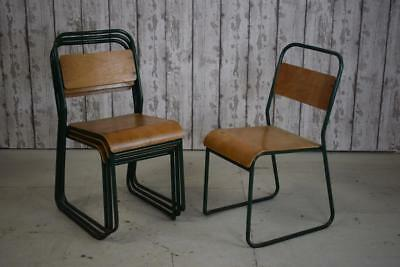 Vintage Industrial Stacking Stackable Cafe Bar Kitchen Dining Chairs