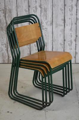 Set Of 4 Vintage Industrial Stacking Stackable Cafe Bar Kitchen Dining Chairs
