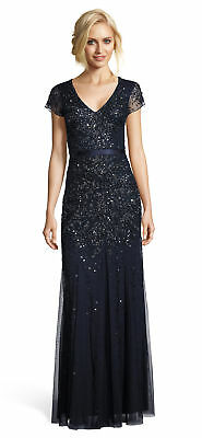 Adrianna Papell Beaded Mesh Cap Sleeve Gown Midnghtblu - FINAL SALE