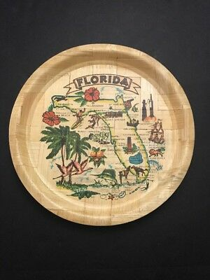 """State of Florida Map Size 13"""" Woven Bamboo Collectible Plate Art Decoration"""