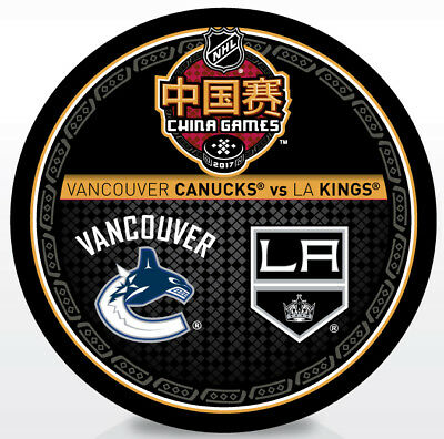 2017 NHL China Games Dueling Hockey Puck Los Angeles Kings vs Vancouver Canucks
