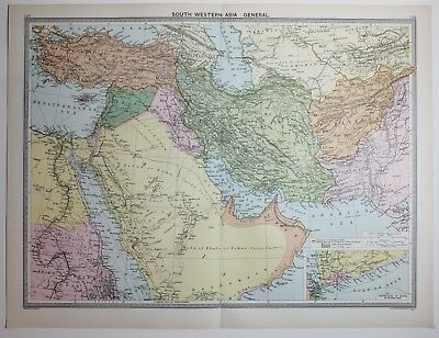 1920 Large Map South Western Asia Arabia Persia Afghanistan Syria Cyprus