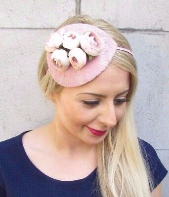 Blush Light Dusky Dusty Nude Pink Rose Flower Fascinator Races Headband Vtg 3895