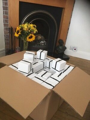 Job Lot Of 100 White & Black Gloss Candle Gift  Boxes