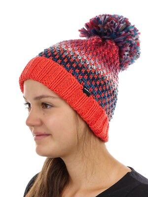 O'NEILL BEANIE WINTER HAT WITH BOBBLE Red Warm Crescent chunky knitted