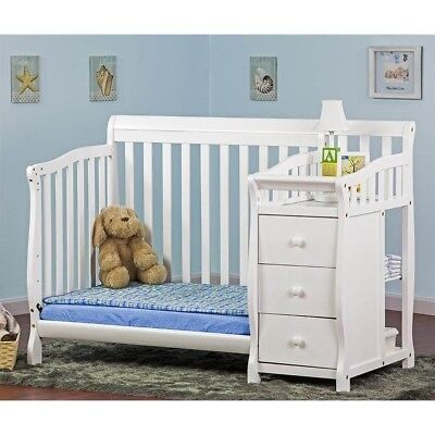 Dream On Me Jayden 4-in-1 Mini Convertible Crib and Changer in White