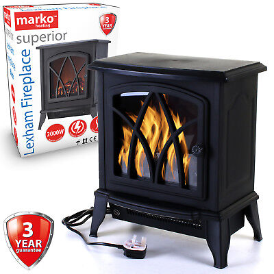 Electric Fireplace 1.8KW Fire Wood Flame Heater Stove Living Room Log Burner NEW