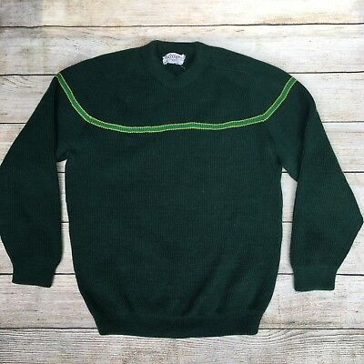 Vintage Skitique Wool Sweater 1960's Japan Made Green Stripe Retro Size Small